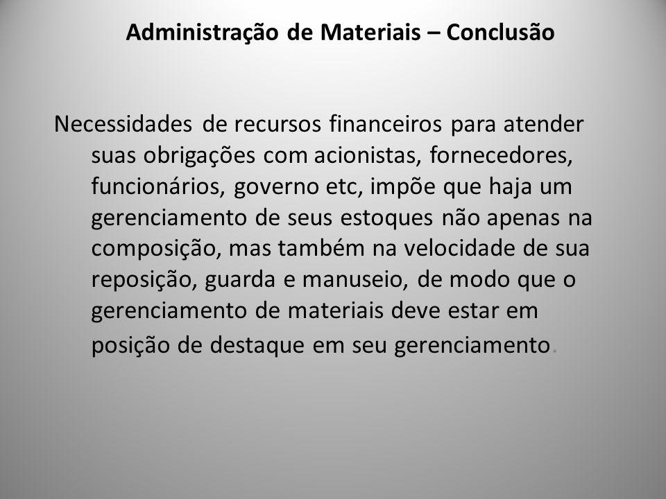 Administração de Materiais – Conclusão