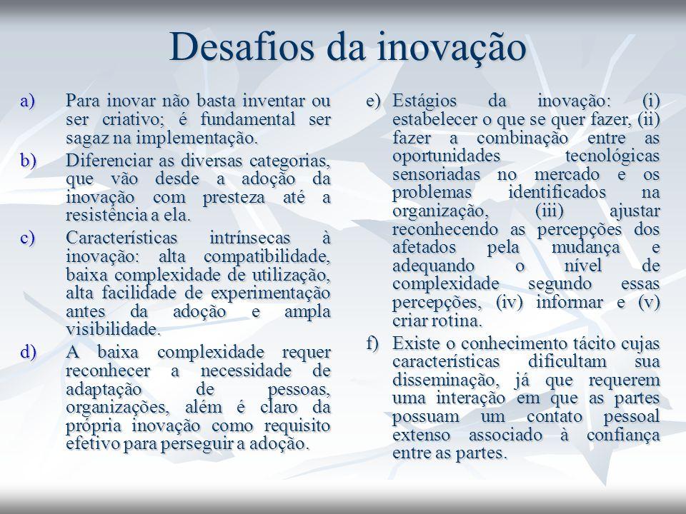 Desafios da inovação Para inovar não basta inventar ou ser criativo; é fundamental ser sagaz na implementação.