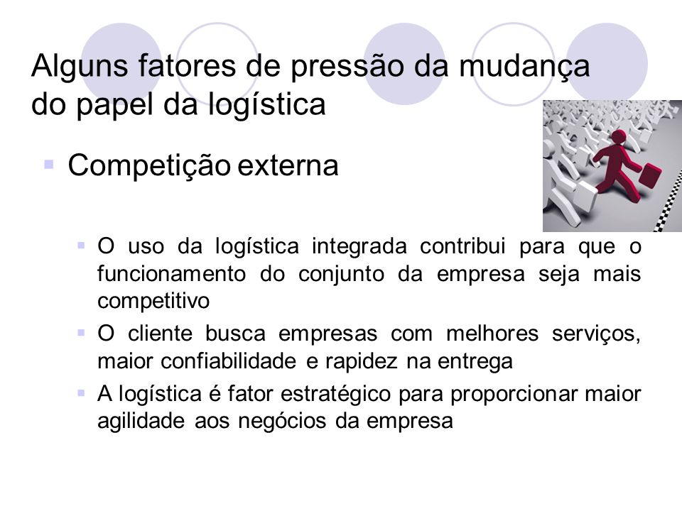 Alguns fatores de pressão da mudança do papel da logística