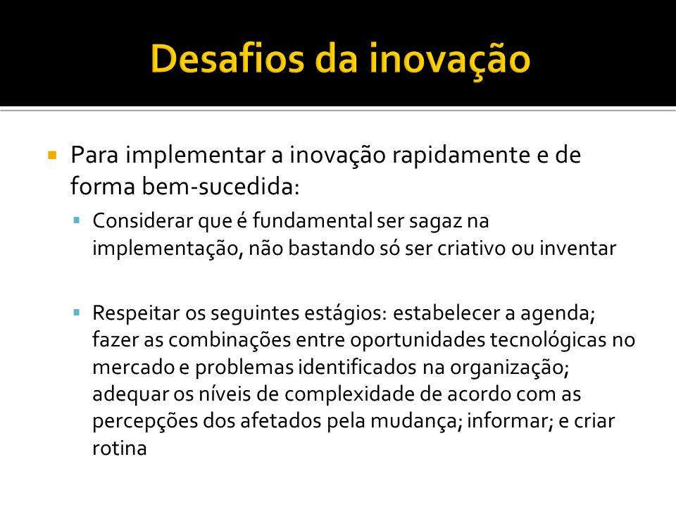 Desafios da inovação Para implementar a inovação rapidamente e de forma bem-sucedida: