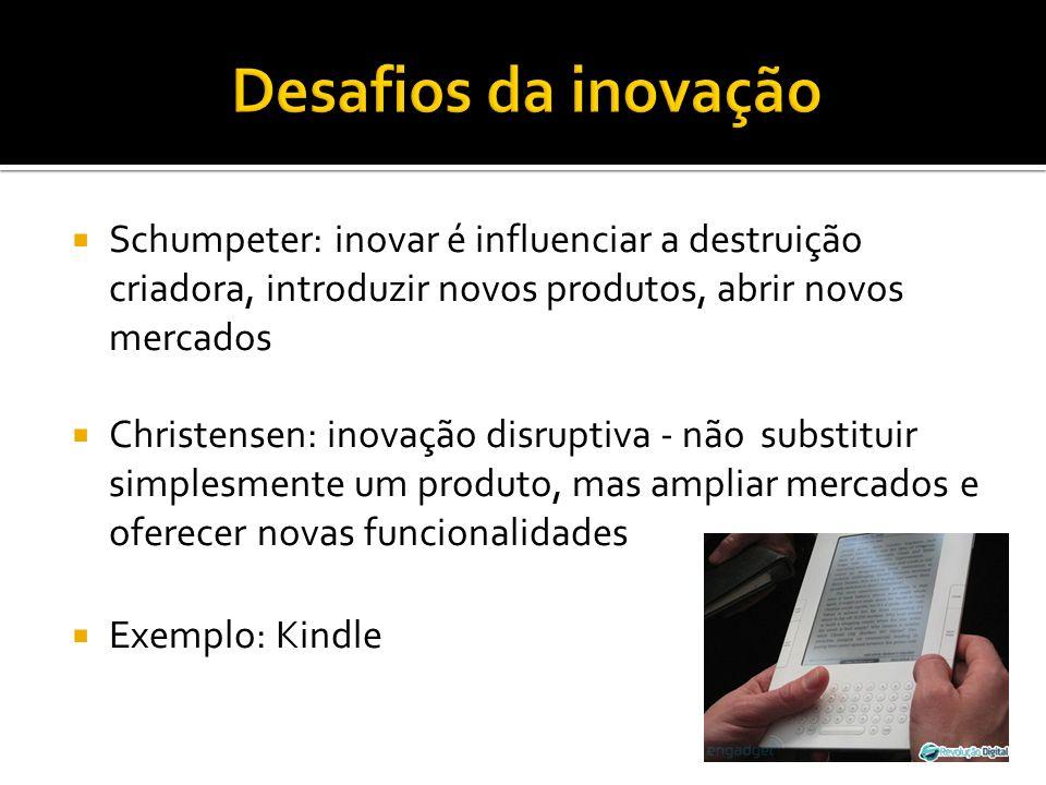 Desafios da inovação Schumpeter: inovar é influenciar a destruição criadora, introduzir novos produtos, abrir novos mercados.