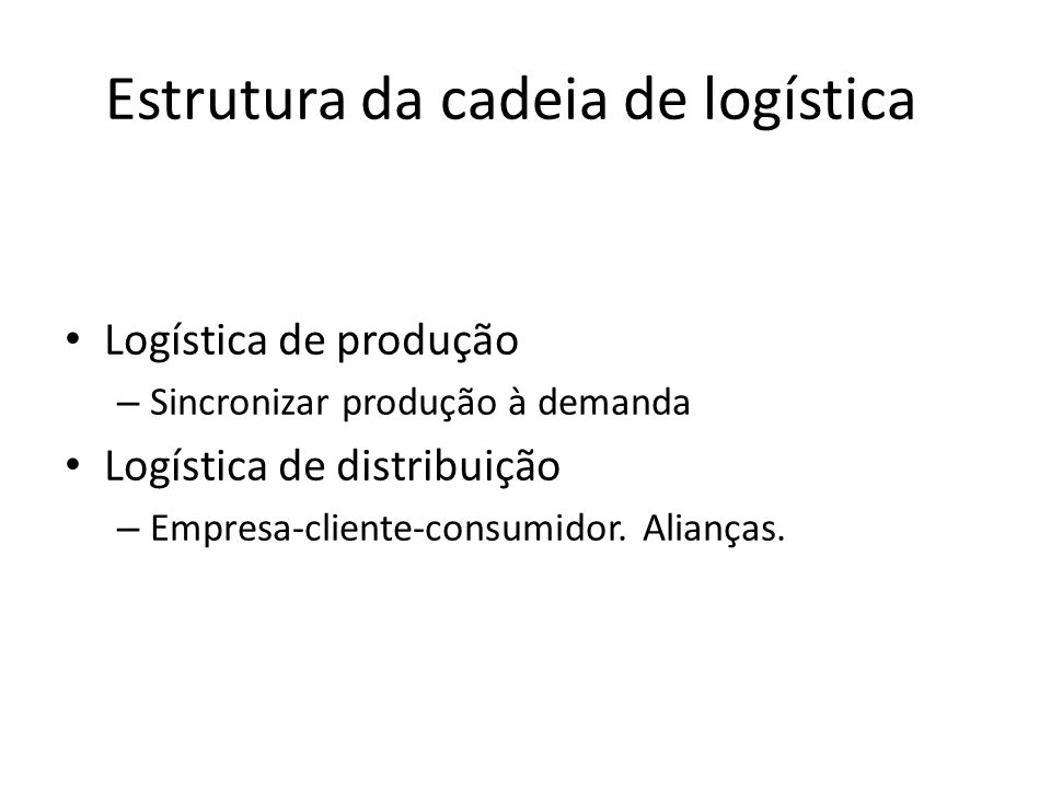 Estrutura da cadeia de logística