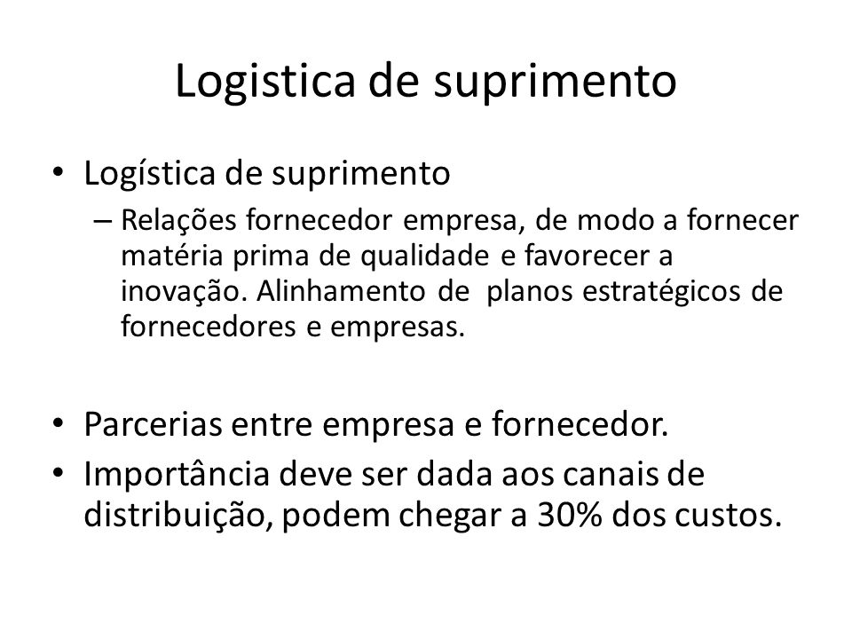 Logistica de suprimento