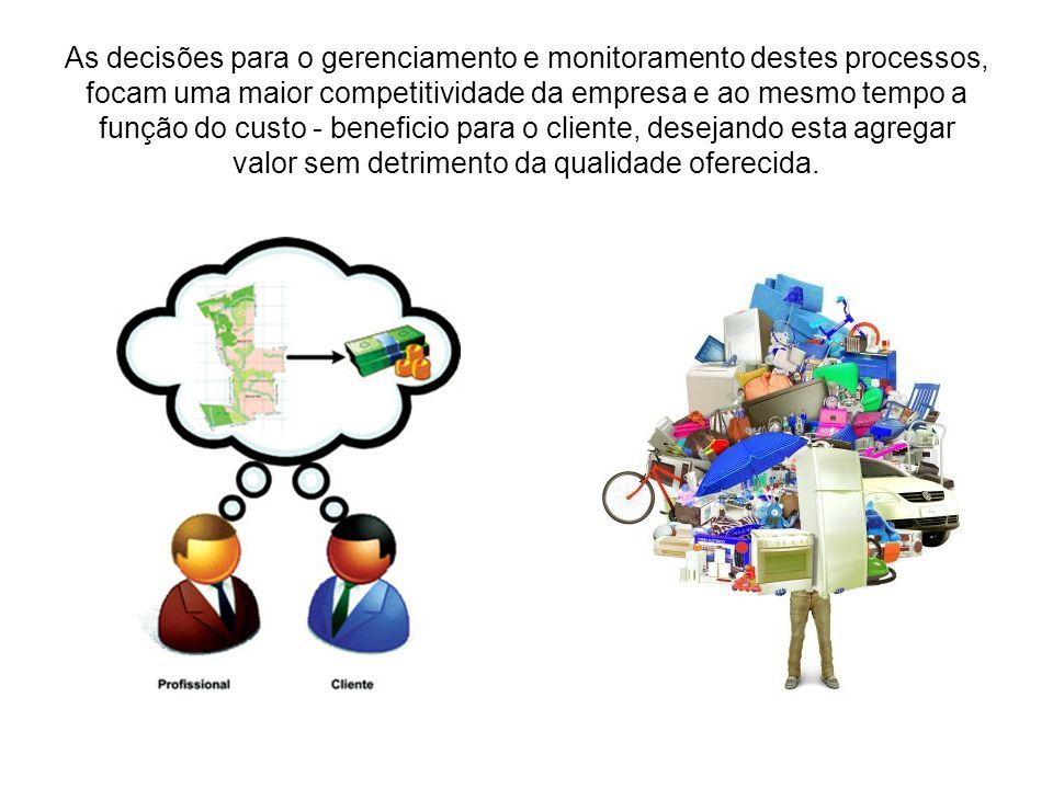 As decisões para o gerenciamento e monitoramento destes processos, focam uma maior competitividade da empresa e ao mesmo tempo a função do custo - beneficio para o cliente, desejando esta agregar valor sem detrimento da qualidade oferecida.