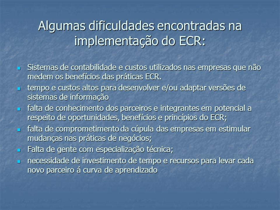 Algumas dificuldades encontradas na implementação do ECR: