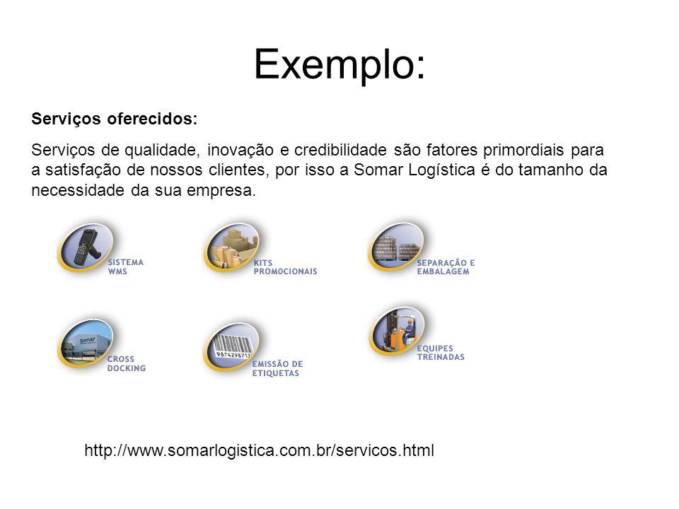 Exemplo: Serviços oferecidos: