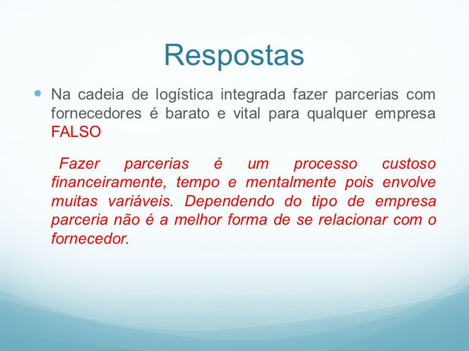 RespostasNa cadeia de logística integrada fazer parcerias com fornecedores é barato e vital para qualquer empresa FALSO.
