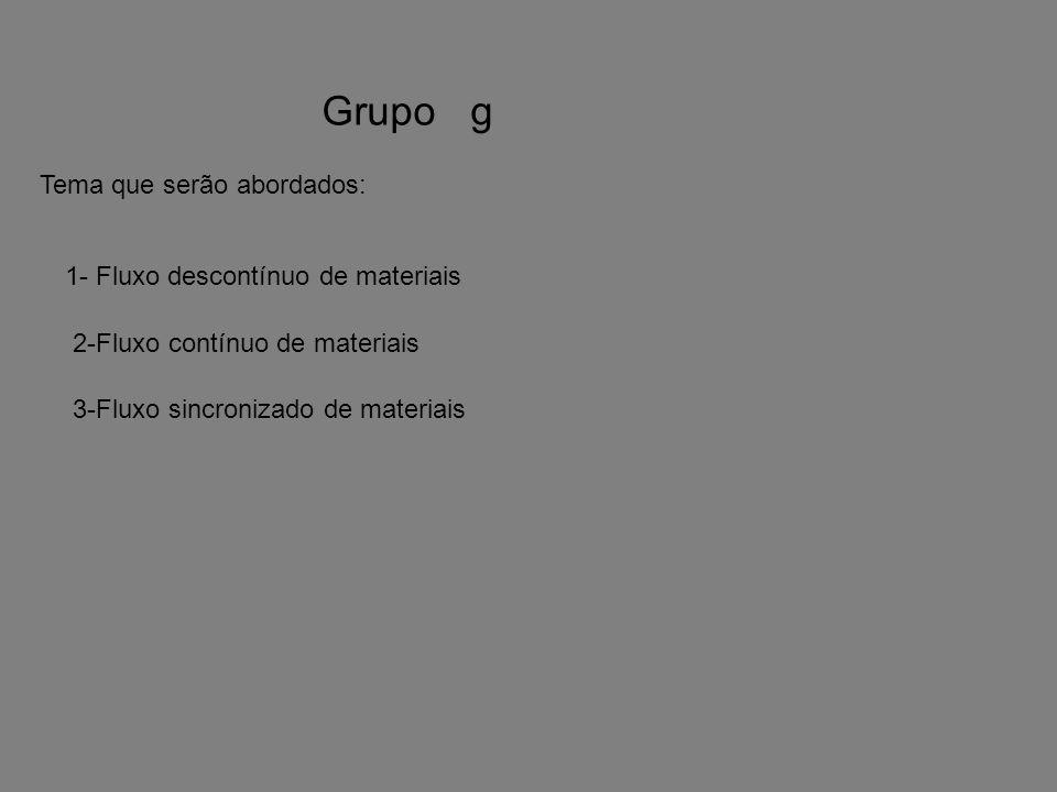 Grupo gTema que serão abordados: 1- Fluxo descontínuo de materiais. 2-Fluxo contínuo de materiais.