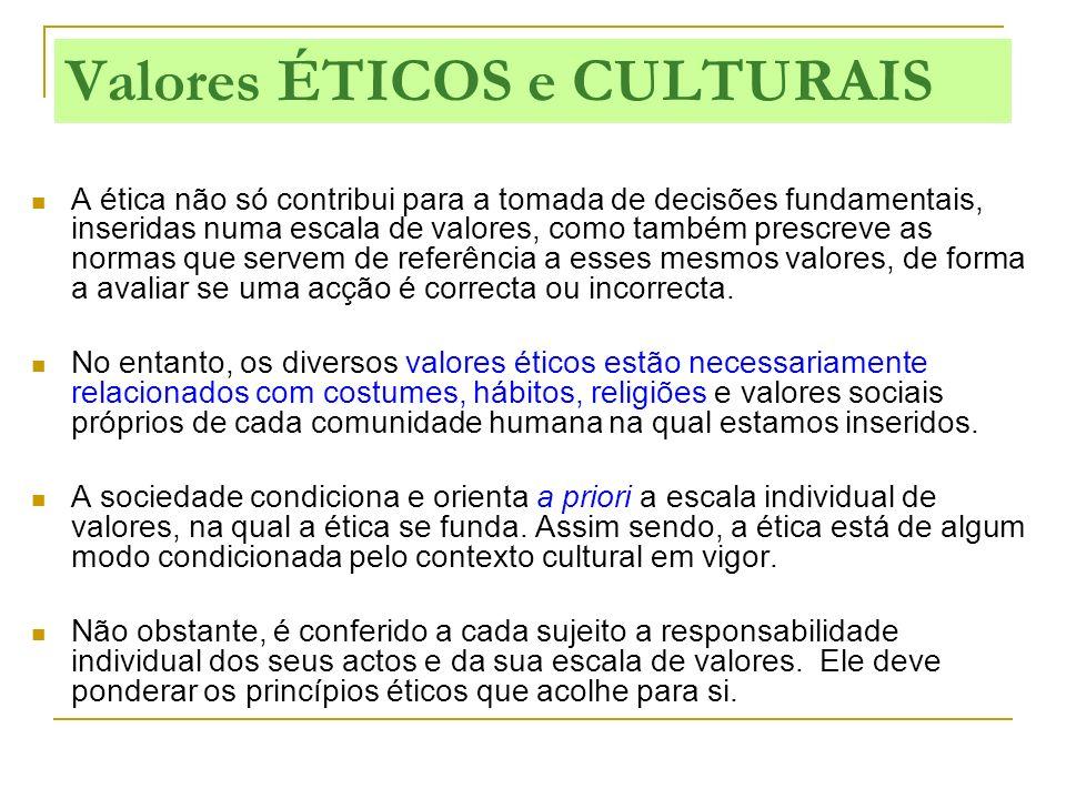 Valores ÉTICOS e CULTURAIS