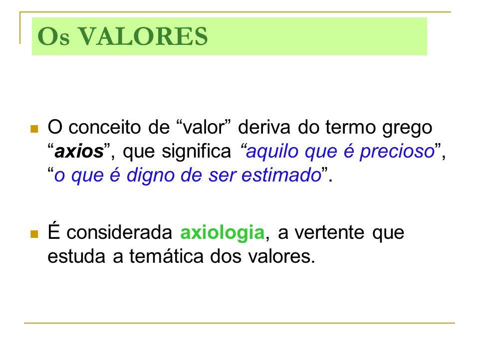Os VALORES O conceito de valor deriva do termo grego axios , que significa aquilo que é precioso , o que é digno de ser estimado .