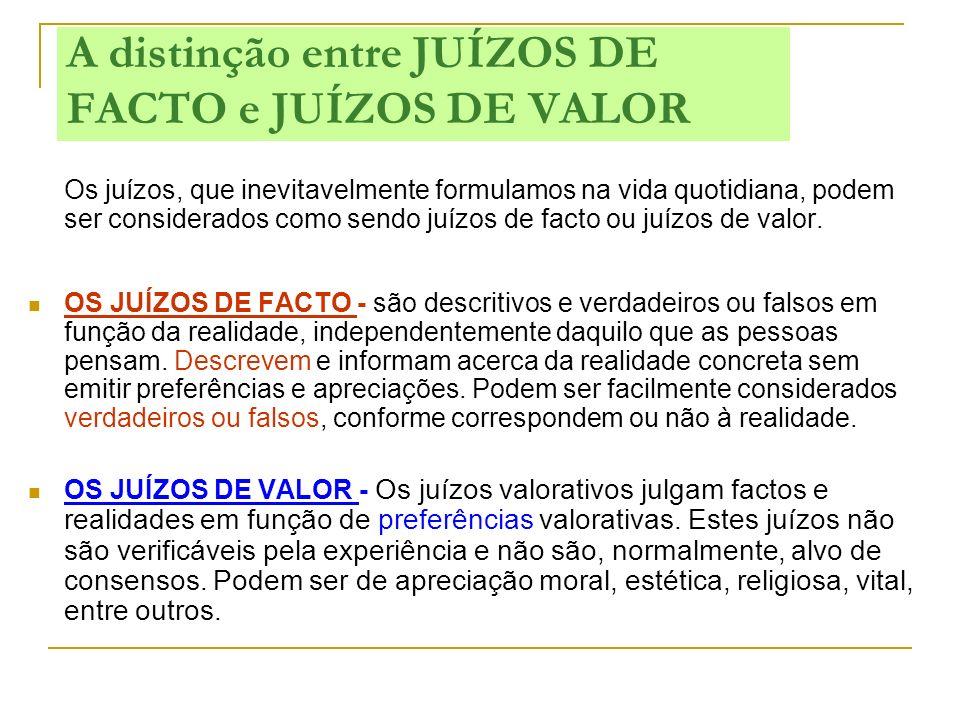 A distinção entre JUÍZOS DE FACTO e JUÍZOS DE VALOR