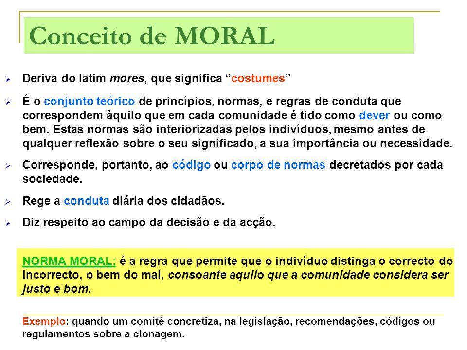 Conceito de MORAL Deriva do latim mores, que significa costumes