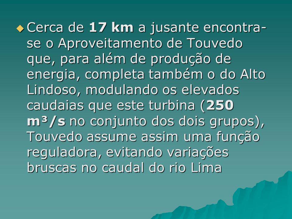 Cerca de 17 km a jusante encontra-se o Aproveitamento de Touvedo que, para além de produção de energia, completa também o do Alto Lindoso, modulando os elevados caudaias que este turbina (250 m³/s no conjunto dos dois grupos), Touvedo assume assim uma função reguladora, evitando variações bruscas no caudal do rio Lima