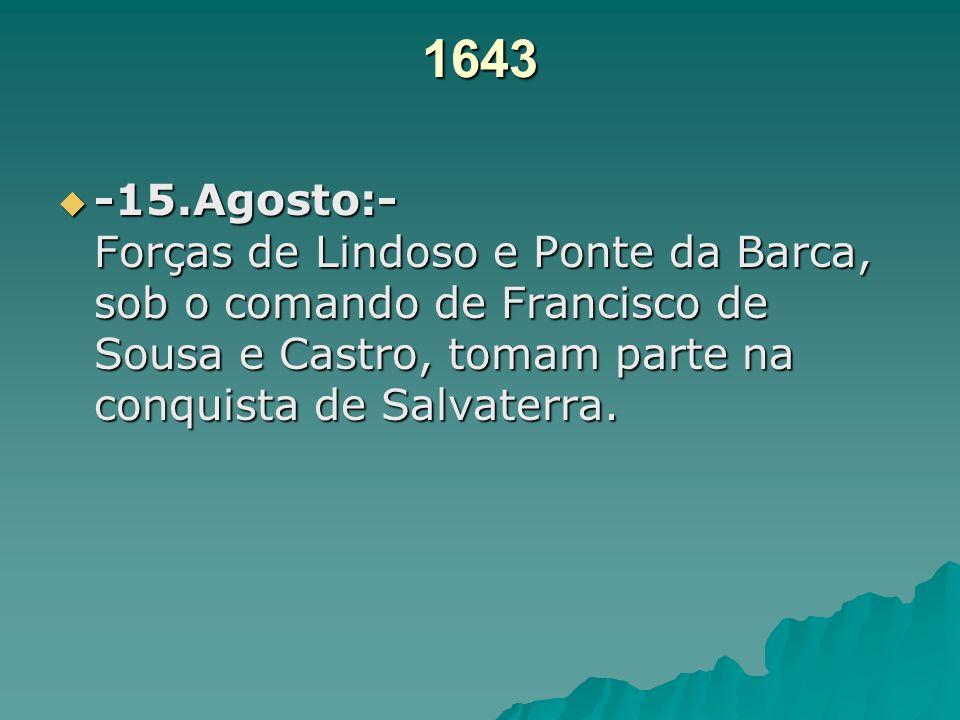 1643-15.Agosto:- Forças de Lindoso e Ponte da Barca, sob o comando de Francisco de Sousa e Castro, tomam parte na conquista de Salvaterra.