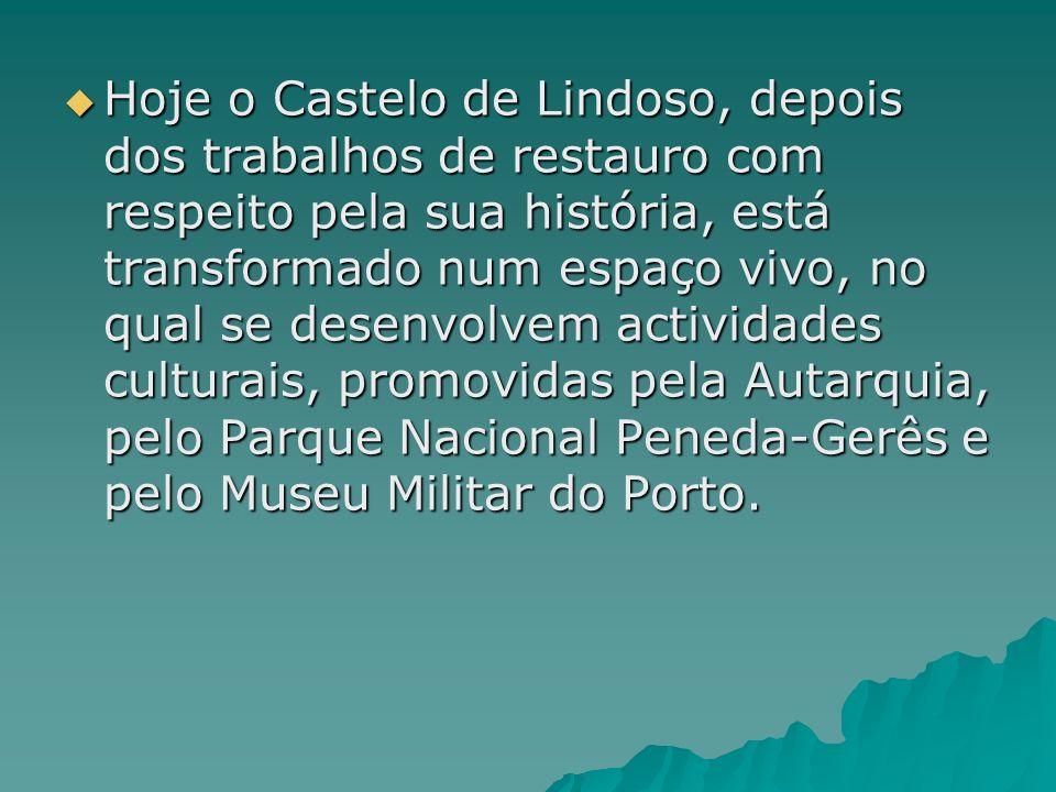 Hoje o Castelo de Lindoso, depois dos trabalhos de restauro com respeito pela sua história, está transformado num espaço vivo, no qual se desenvolvem actividades culturais, promovidas pela Autarquia, pelo Parque Nacional Peneda-Gerês e pelo Museu Militar do Porto.