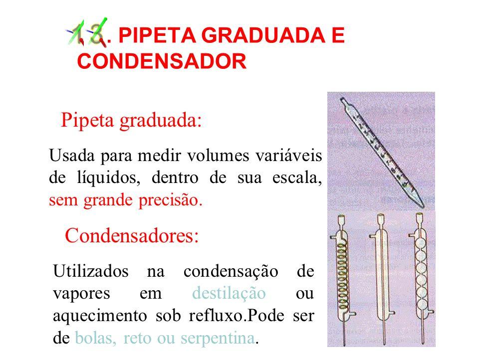 13 . PIPETA GRADUADA E CONDENSADOR