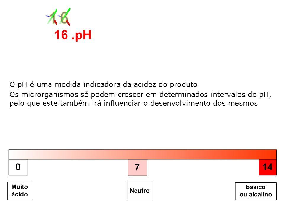 16 .pH O pH é uma medida indicadora da acidez do produto