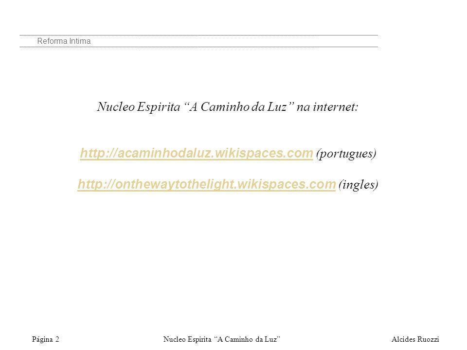 Nucleo Espirita A Caminho da Luz na internet: http://acaminhodaluz