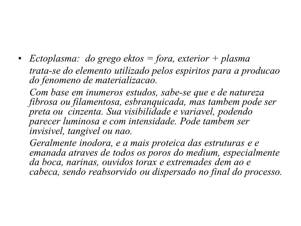 Ectoplasma: do grego ektos = fora, exterior + plasma