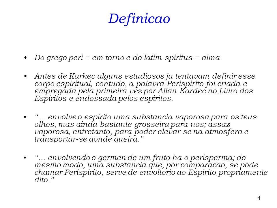 Definicao Do grego peri = em torno e do latim spiritus = alma