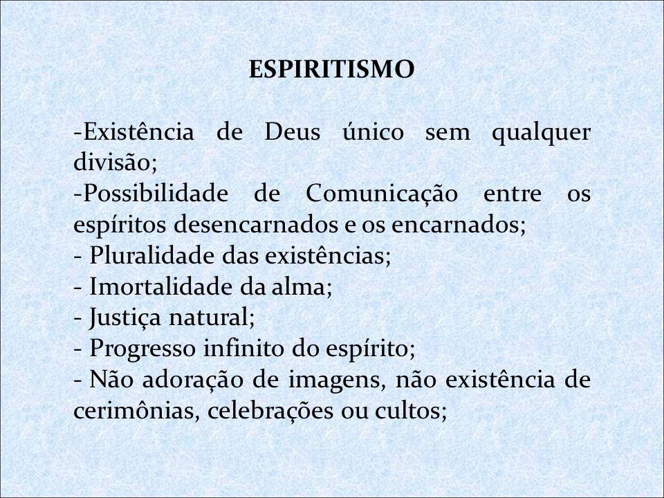 ESPIRITISMO Existência de Deus único sem qualquer divisão; Possibilidade de Comunicação entre os espíritos desencarnados e os encarnados;
