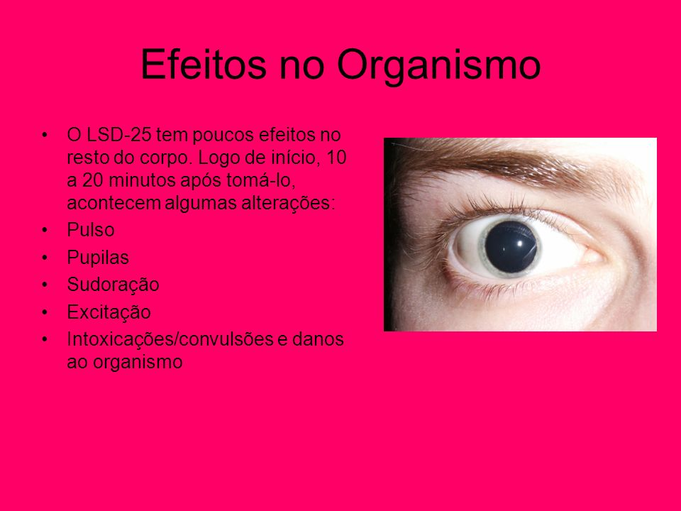 Efeitos no OrganismoO LSD-25 tem poucos efeitos no resto do corpo. Logo de início, 10 a 20 minutos após tomá-lo, acontecem algumas alterações: