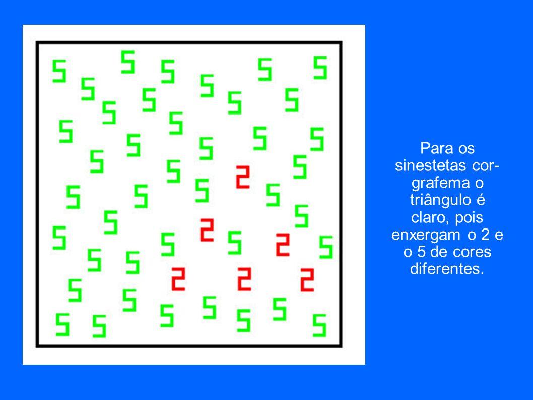 Para os sinestetas cor- grafema o triângulo é claro, pois enxergam o 2 e o 5 de cores diferentes.