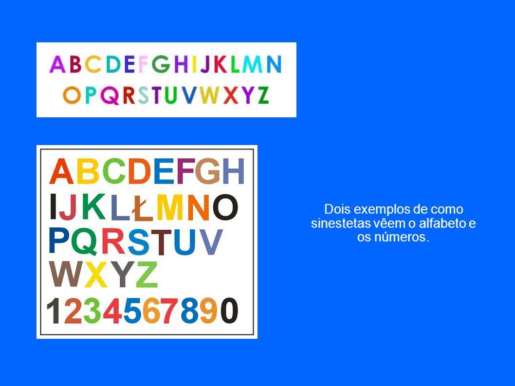 Dois exemplos de como sinestetas vêem o alfabeto e os números.