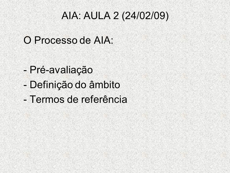 AIA: AULA 2 (24/02/09) O Processo de AIA: - Pré-avaliação Definição do âmbito Termos de referência
