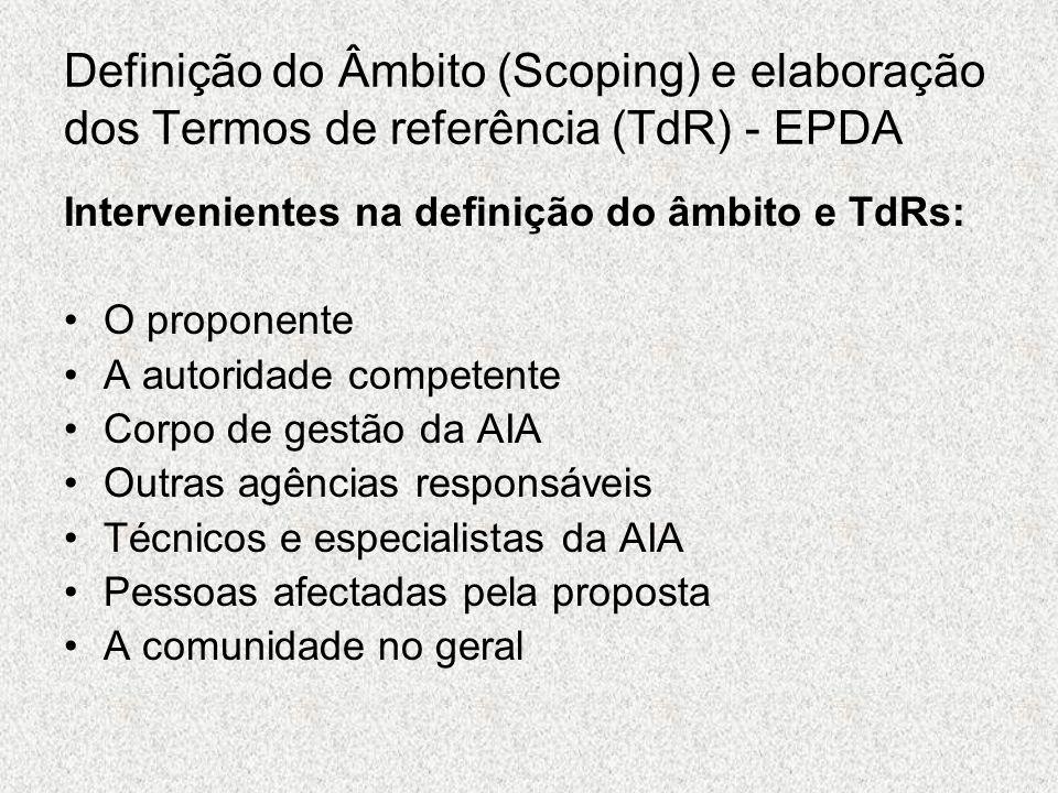 Definição do Âmbito (Scoping) e elaboração dos Termos de referência (TdR) - EPDA