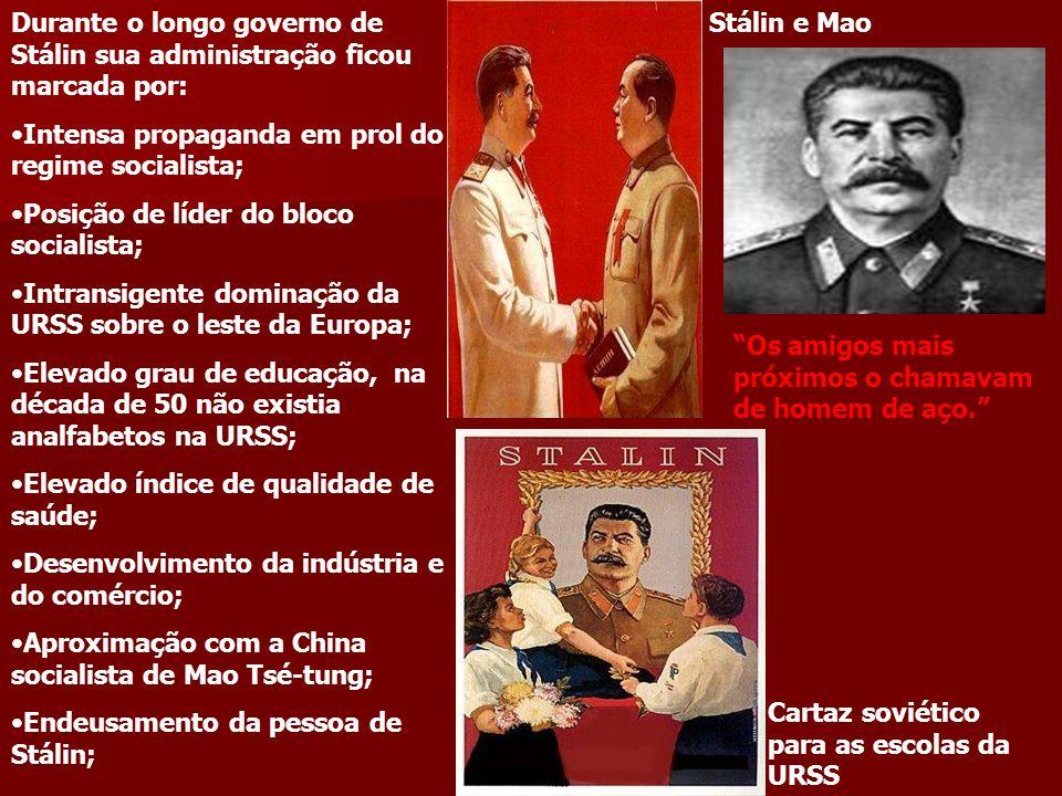 Durante o longo governo de Stálin sua administração ficou marcada por: