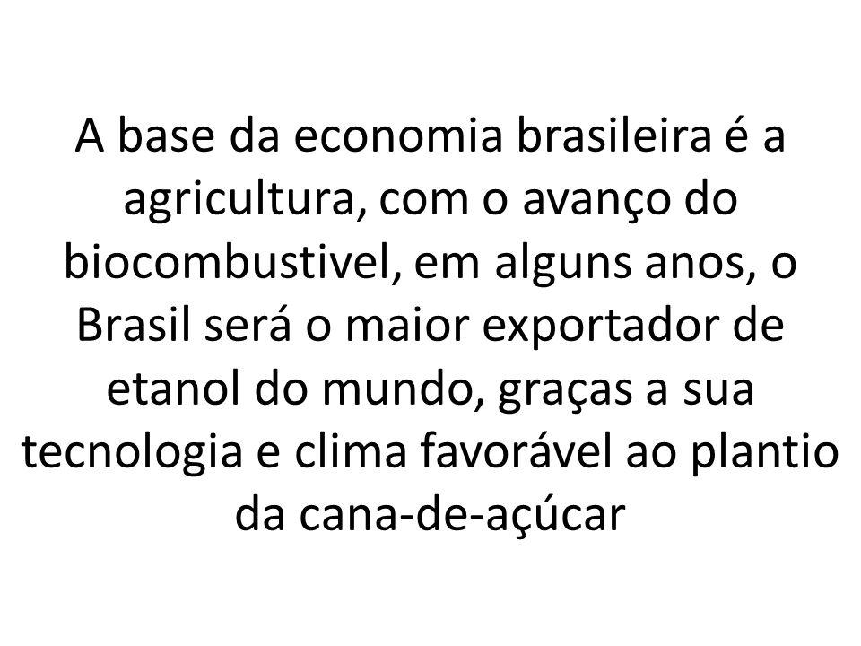A base da economia brasileira é a agricultura, com o avanço do biocombustivel, em alguns anos, o Brasil será o maior exportador de etanol do mundo, graças a sua tecnologia e clima favorável ao plantio da cana-de-açúcar