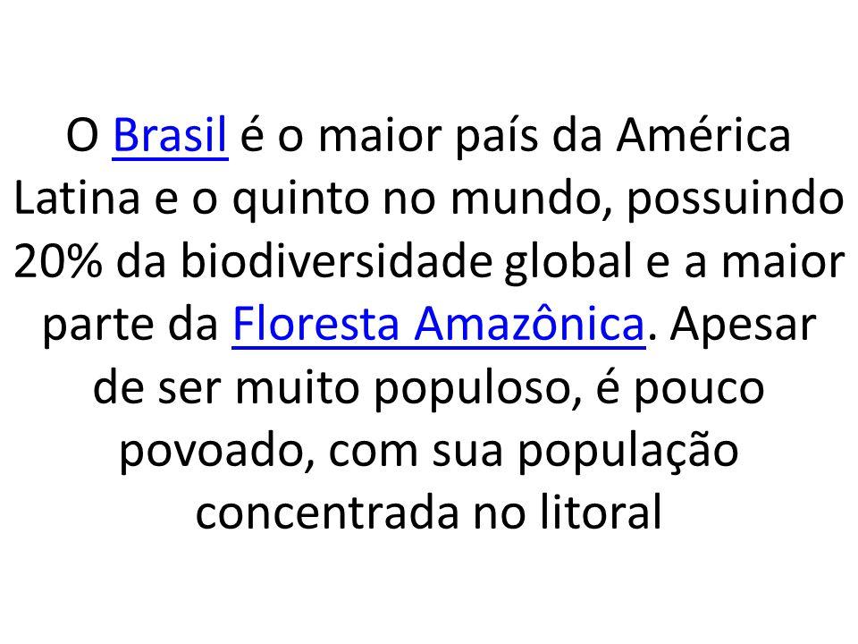O Brasil é o maior país da América Latina e o quinto no mundo, possuindo 20% da biodiversidade global e a maior parte da Floresta Amazônica.