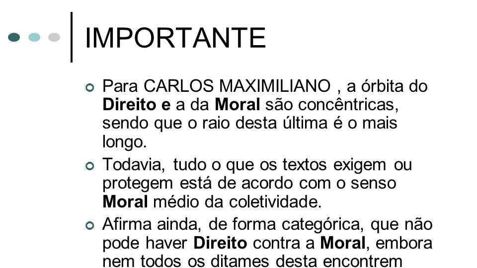 IMPORTANTE Para CARLOS MAXIMILIANO , a órbita do Direito e a da Moral são concêntricas, sendo que o raio desta última é o mais longo.