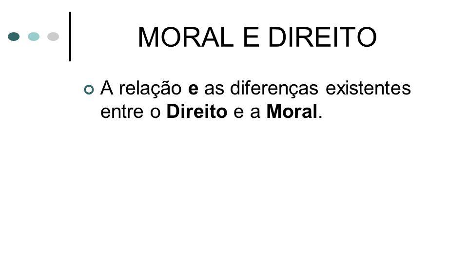 MORAL E DIREITO A relação e as diferenças existentes entre o Direito e a Moral.