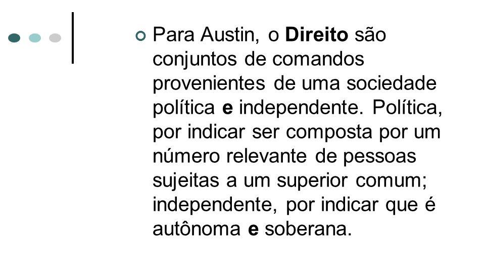 Para Austin, o Direito são conjuntos de comandos provenientes de uma sociedade política e independente.