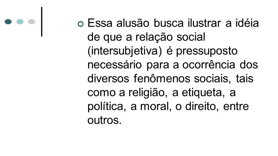 Essa alusão busca ilustrar a idéia de que a relação social (intersubjetiva) é pressuposto necessário para a ocorrência dos diversos fenômenos sociais, tais como a religião, a etiqueta, a política, a moral, o direito, entre outros.