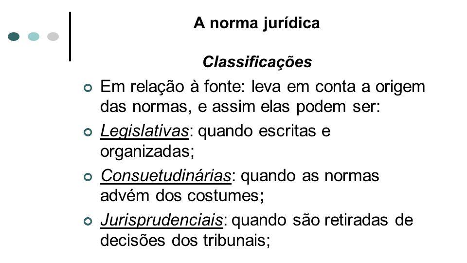 A norma jurídica Classificações