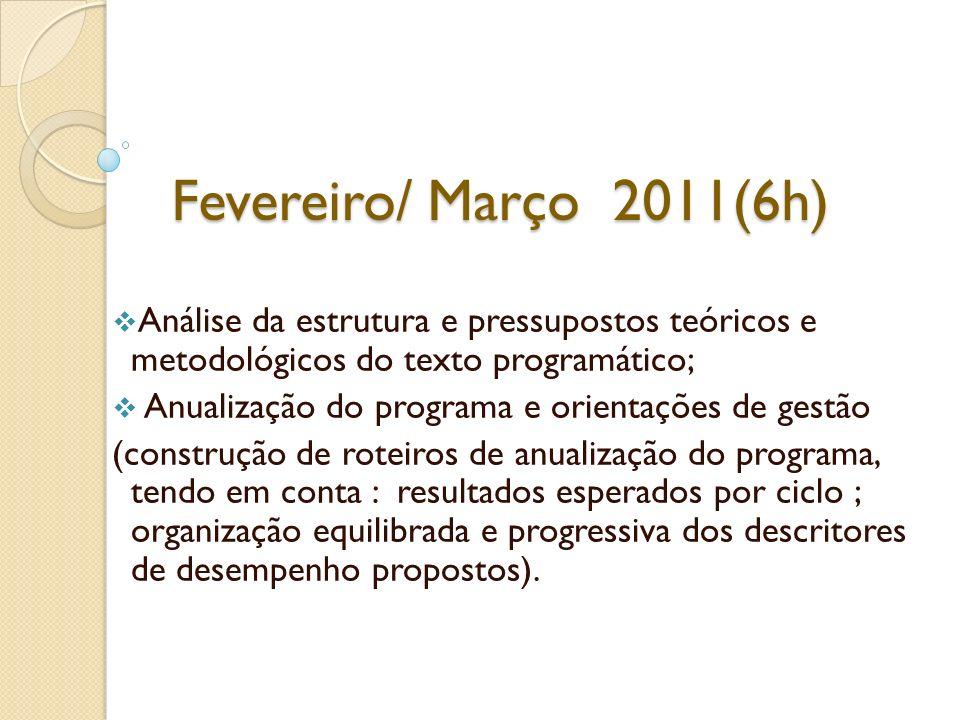 Fevereiro/ Março 2011(6h) Análise da estrutura e pressupostos teóricos e metodológicos do texto programático;