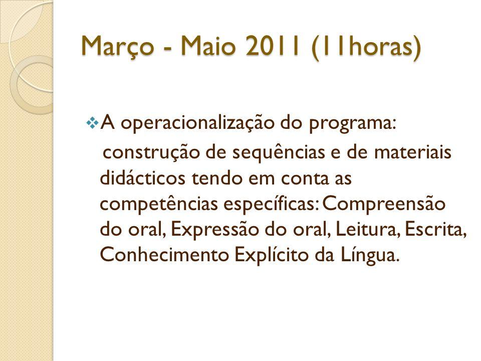 Março - Maio 2011 (11horas) A operacionalização do programa: