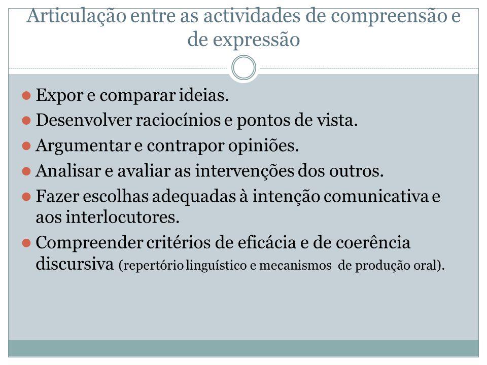 Articulação entre as actividades de compreensão e de expressão