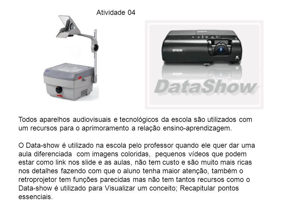 Atividade 04 Todos aparelhos audiovisuais e tecnológicos da escola são utilizados com um recursos para o aprimoramento a relação ensino-aprendizagem.