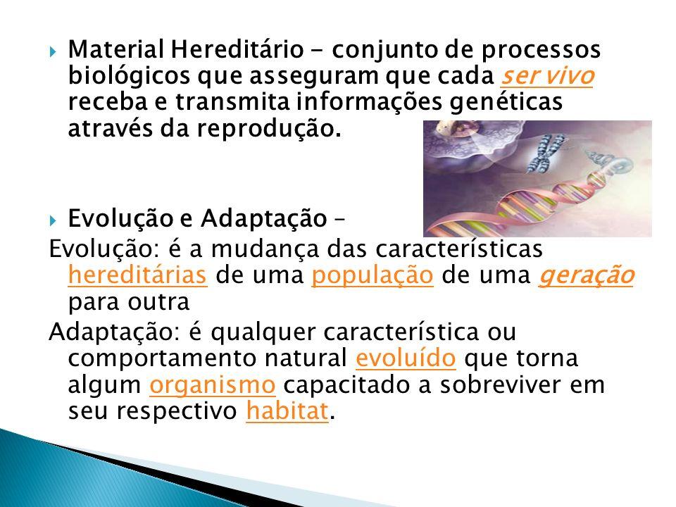 Material Hereditário - conjunto de processos biológicos que asseguram que cada ser vivo receba e transmita informações genéticas através da reprodução.