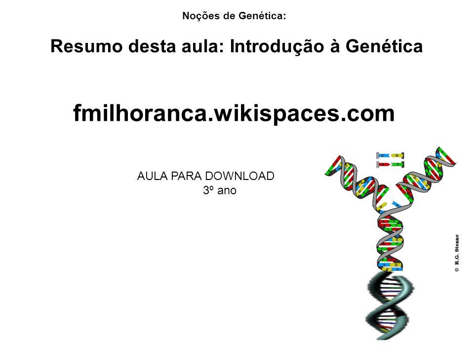 Resumo desta aula: Introdução à Genética