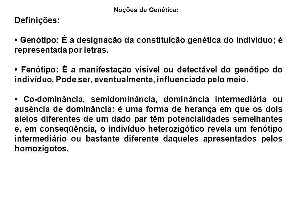 Noções de Genética: Definições: • Genótipo: É a designação da constituição genética do indivíduo; é representada por letras.