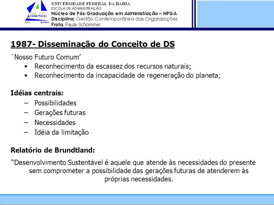 1987- Disseminação do Conceito de DS