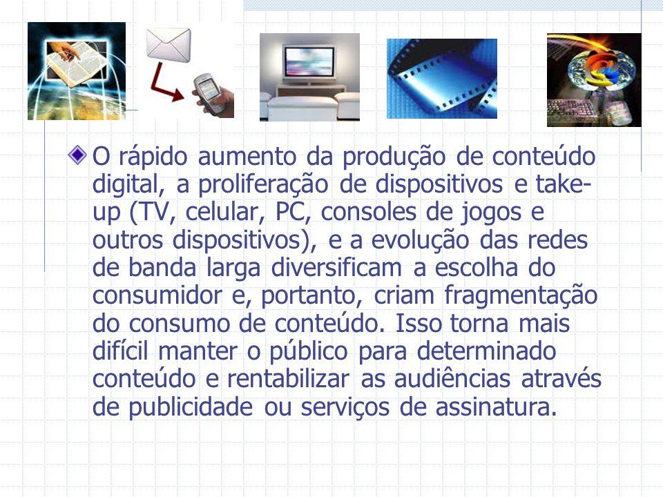 O rápido aumento da produção de conteúdo digital, a proliferação de dispositivos e take-up (TV, celular, PC, consoles de jogos e outros dispositivos), e a evolução das redes de banda larga diversificam a escolha do consumidor e, portanto, criam fragmentação do consumo de conteúdo.