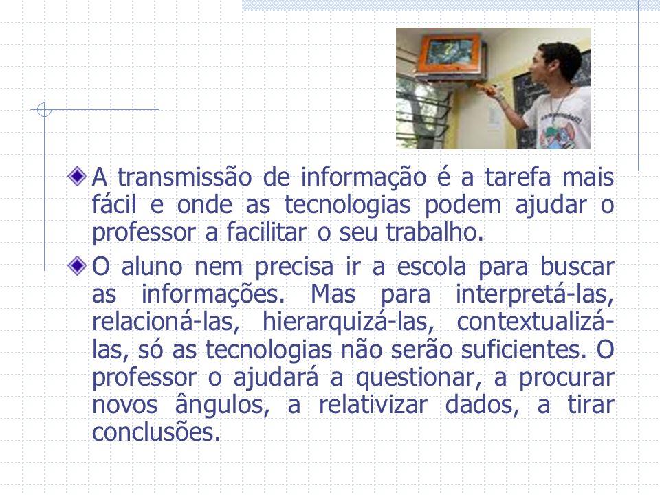 A transmissão de informação é a tarefa mais fácil e onde as tecnologias podem ajudar o professor a facilitar o seu trabalho.