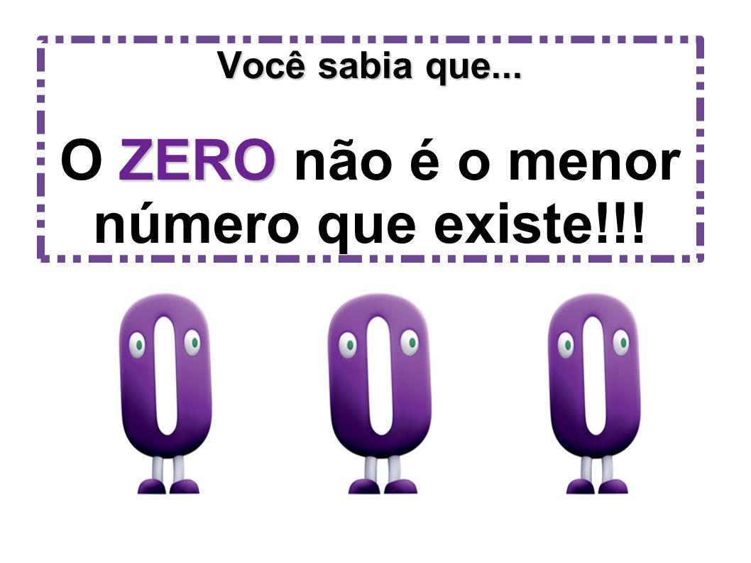 Você sabia que... O ZERO não é o menor número que existe!!!