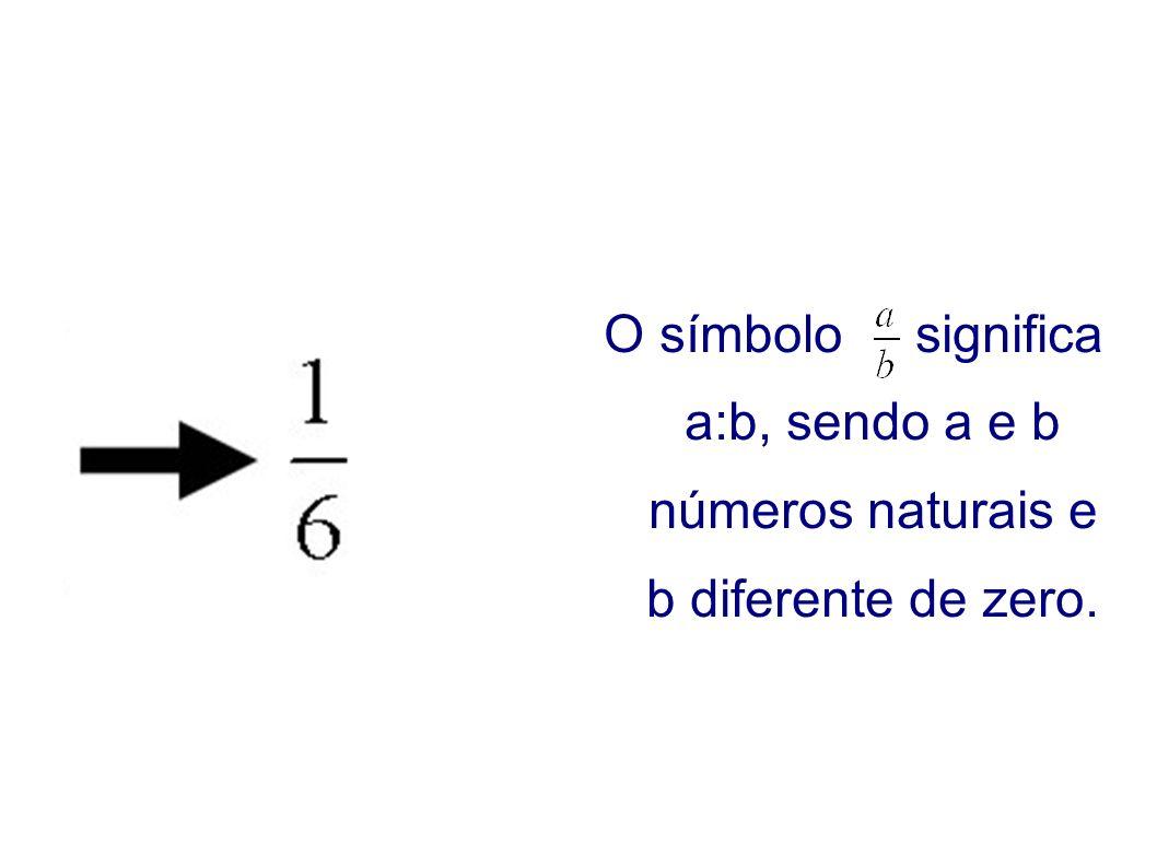 O símbolo significa a:b, sendo a e b números naturais e b diferente de zero.